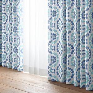 [100×178]ドレープ 遮光 カーテン YDDリレイション ブルー2枚入