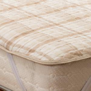 [シングル] 通気性に優れた しじら織り 3シーズン使える 敷パット チェック ブラウン 抗菌防臭 ヤマダオリジナル