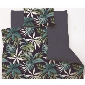 掛け布団カバー  シングル 150×210cm リゾートリーフ ネイビー しわになりにくい 乾きやすい