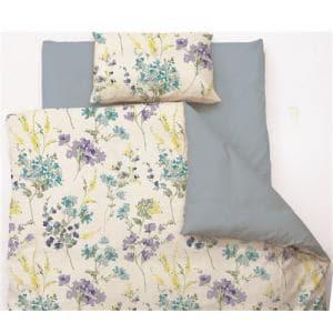 掛け布団カバー  シングル 150×210cm 水彩フラワー ブルー しわになりにくい 乾きやすい