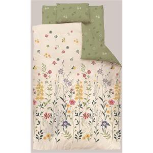 掛け布団カバー  セミダブル 170×210cm フラワー グリーン しわになりにくい 乾きやすい