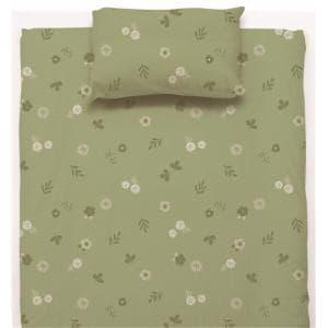 ベットカバー/ボックスシーツ ダブル 140×200×38cm フラワー グリーン しわになりにくい 乾きやすい