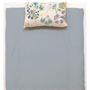 ベットカバー/ボックスシーツ セミダブル 120×200×38cm 水彩フラワー  ブルー しわになりにくい 乾きやすい