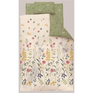 掛け布団カバー ダブル 190×210cm フラワー グリーン しわになりにくい 乾きやすい