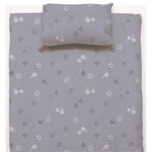 ベットカバー/ボックスシーツ セミダブル 120×200×38cm フラワー ブルー しわになりにくい 乾きやすい