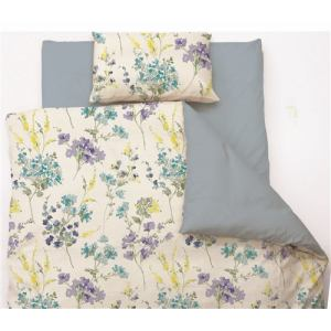 掛け布団カバー ダブル 190×210cm 水彩フラワー ブルー しわになりにくい 乾きやすい