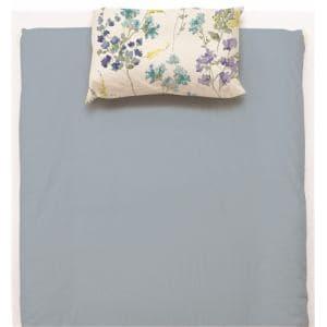 敷布団カバー  ダブル 145×215cm 水彩フラワー ブルー しわになりにくい 乾きやすい