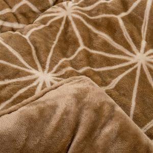 [長方形 190×240]フランネルこたつ布団 幾何柄 ブラウン 2~3人用