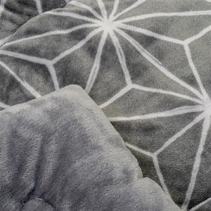 [長方形 190×240]フランネルこたつ布団 幾何柄 グレー 2~3人用