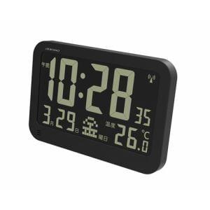 電波時計 ブラックディスプレイ電波クロック ブラック アデッソ(株) OP-05