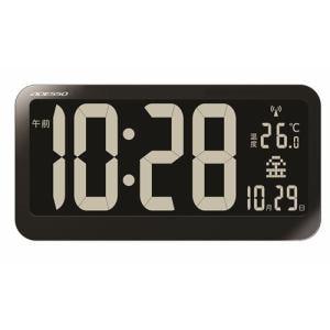 電波時計 ブラックディスプレイ電波クロック ブラック アデッソ(株) OP-04