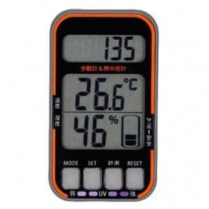 オーム電機 歩数計 熱中症インジケーター UVチェッカー付き HBK-PT1
