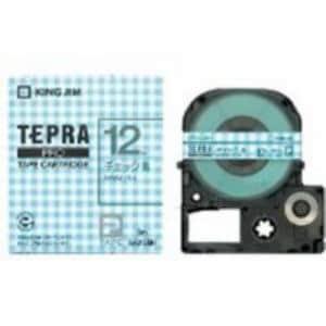 キングジム 模様ラベルテープ 「テプラPRO」 (チェック青テープ/グレー文字/12mm幅) SWX12BH