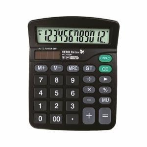 HerbRelax YCLD12F1 12桁表示電池&ソーラー併用電卓 ブラック
