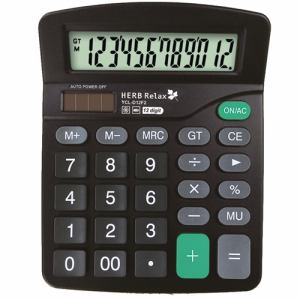 HerbRelax YCLD12F2 12桁表示電池&ソーラー併用電卓 ブラック