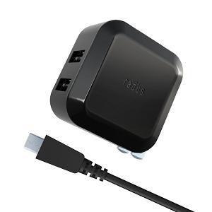 ラディウス RKADA01K 2.4A 急速充電アダプター for SmartPhone & Tablet PC with micro USB ケーブル ブラック