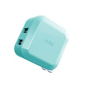 ラディウス 2ポート USBアダプター シアン RK-ADA02C