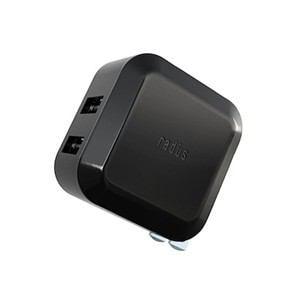 ラディウス 2ポート USBアダプター ブラック RK-ADA02K