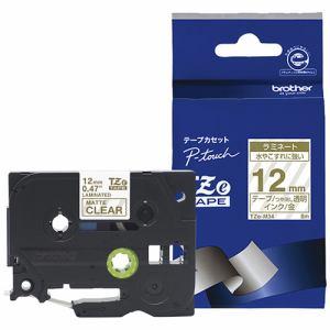 ブラザー ラミネートテープ(マットテープ:金) 透明 (つや消し) TZe-M34