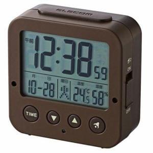 エレコム CLK-DD001BR 電波デジタル目覚まし時計 ブラウン