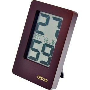 クレセル CR-2200C 天然木デジタル温湿度計 ブラウン