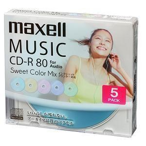 maxell 音楽用CD-R 80分 カラープリンタブル 5枚ケース CDRA80PSM5S
