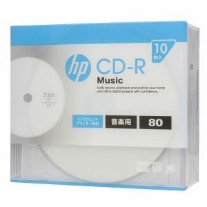 ヒューレットパッカード CDRA80CHPW10A 音楽用CD-R インクジェットプリンター対応ホワイトワイドレーベル 1-32倍速 10枚
