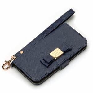 PGA PG-I5EFP06NV iPhone SE/5s/5用 フリップカバーfor ガールズ ダブルリボン ネイビー