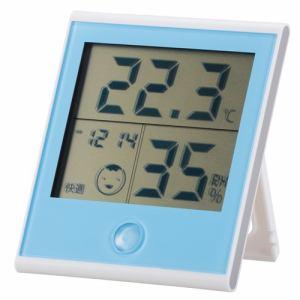 オーム電機 TEM-200-A 時計付き温湿度計 ブルー