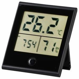 オーム電機 TEM-210-K 時計付温湿度計 ブラック