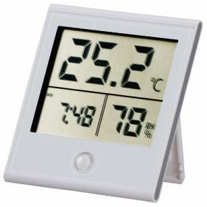 オーム電機 TEM-210-W 時計付温湿度計 ホワイト