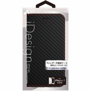 エアージェイ(air-J) iPhone7/6/6s専用PUレザー薄型手帳型ケース カーボン+レッドステッチ AC-P7-PB CBR