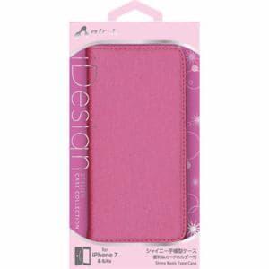 エアージェイ(air-J) AC-P7-SHYRP iPhone7/6/6s専用シャイニー素材手帳型ケース ローズピンク