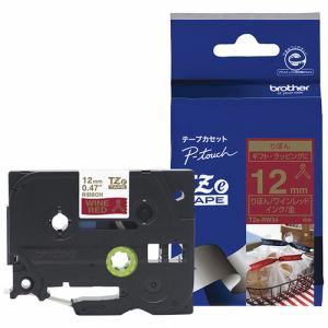 ブラザー TZe-RW34 ラベルライター ピータッチ用 りぼんテープ ワインレッド