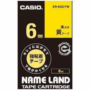カシオ XR-6GCYW ネームランド用強粘着テープ(黄/黒文字/6mm幅)