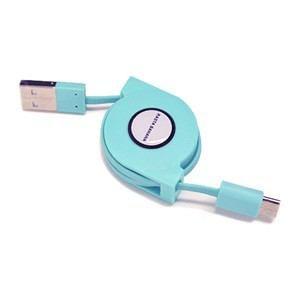 ラスタバナナ RBHE259 充電/ 転送対応 Type-C USBケーブル リールタイプ 80cm(ミントブルー)