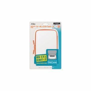 アクラス New2DSLL/New3DSLL/3DSLL用カーボンスタイルポーチ ホワイト×オレンジ