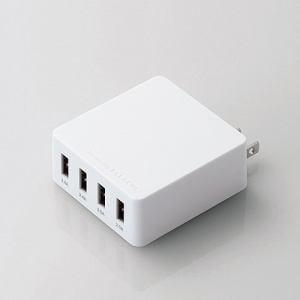 ELECOM(エレコム) MPA-AC4U001WH スマートフォン・タブレット用USB充電器(4ポート4.0A) ホワイト