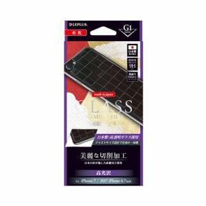 MSソリューションズ LP-I7SFGHC iPhone 8用 [G1]ガラスフィルム 背面保護 細工 市松 0.55mm LP-I7SFGHC 背面/クリア