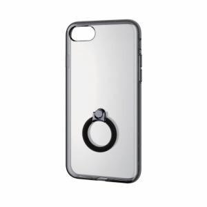 エレコム PM-A17MHVCRBK iPhone 8用 ハイブリッドケースハイブリッドリング付 ブラック