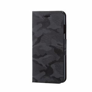 エレコム PM-A17MPLFCFBK iPhone 8用 ファブリックカバー手帳型カモフラ ブラック