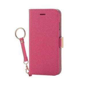 エレコム PM-A17MPLFJPND iPhone 8用 ソフトレザーカバー女子向磁石ストラップ付 ディープピンク