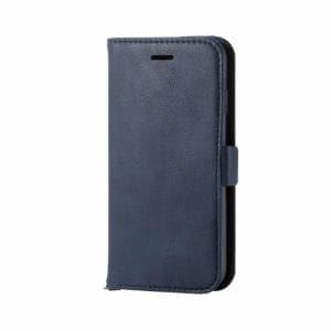 エレコム PM-A17MPLFYNV iPhone 8用 ソフトレザーカバー磁石付 ネイビー