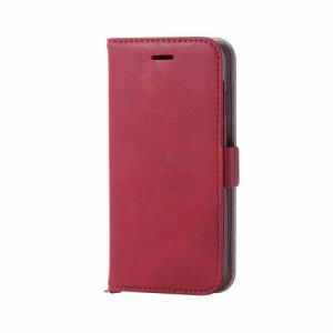 エレコム PM-A17MPLFYRD iPhone 8用 ソフトレザーカバー磁石付 レッド