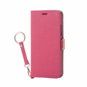 エレコム PM-A17XPLFJPND iPhone X用 ソフトレザーカバー女子向磁石ストラップ付 ディープピンク