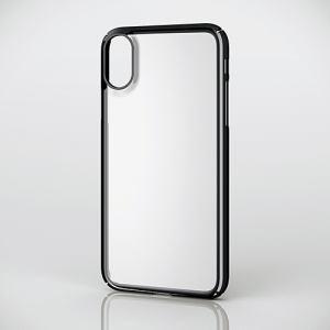 エレコム PM-A17XPVKMBK iPhone X用シェルカバー/極み/サイドメッキ ブラック