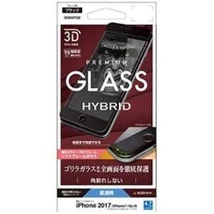 ラスタバナナ SGG856IP7SAB iPhone 8/7/6s/6用 3Dガラスパネル ガラスフィルム ソフトフレーム ゴリラガラス光沢(ブラック)