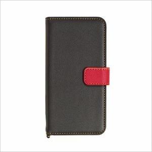 RASTA BANANA(ラスタバナナ) 3431IP7SA iPhone8/7/6s/6 ケースカバー 手帳型 +COLOR 衝撃吸収 BK×RD