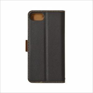 RASTA BANANA(ラスタバナナ) 3434IP7SA iPhone8/7/6s/6 ケースカバー 手帳型 +COLOR 衝撃吸収 薄型 サイドマグネット BK×DBR