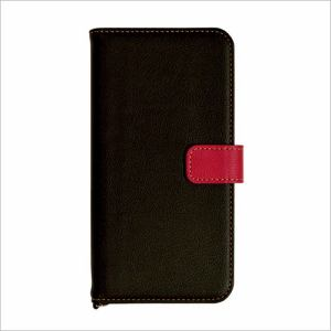 RASTA BANANA(ラスタバナナ) 3488IP7SB iPhone8 Plus/7 Plus ケースカバー 手帳型 +COLOR 衝撃吸収 BK×RD